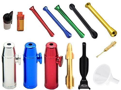 Große Dosierer SET Portionierer Colored Sniff Snuff Bottle Sniffer Spender Dispenser Dispensers Batcher verschiedene Varianten (Röhrchen, Spender, Löffel, Staubsauger, Rocket etc.) (Set 10)