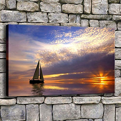 YXWLKG 1 Leinwandbild Leinwandbilder Bilder Wohnkultur 1 Stück Segelboot In Ruhigem Meer Bei Sonnenuntergang Malerei Wohnzimmer Segelschiff Poster Wandkunst 40x60 cm x 1 stücke Kein Rahmen
