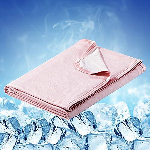 Luxear selbstkühlende Decke, Arc-Chill Q-Max 0,43 Kühldecke, 2 in 1 doppelseitige dünne Sommerdecke Baumwolle, kühlende Decke für Menschen Bettüberwurf Babydecke Kuscheldecke, 220 x 200cm-rosa