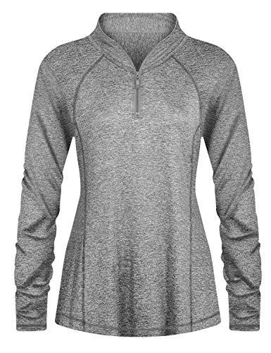 Luranee Half Zip Pullover Women, Plus Size Running Workout Shirts Long Sleeve Breathable Athletic Clothes Performance Raglan Tennis Baseball Outdoor Tees Zipper Sweatshirts Grey 2XL