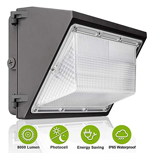 8000LM LED Wall Pack Light, Dusk to Dawn with Photocell 60W Commercial and Industrial Wall Pack, 250-300W MH/HPS Replacement, IP65 Waterproof 5000K Daylight Outdoor Security Lighting Fixture