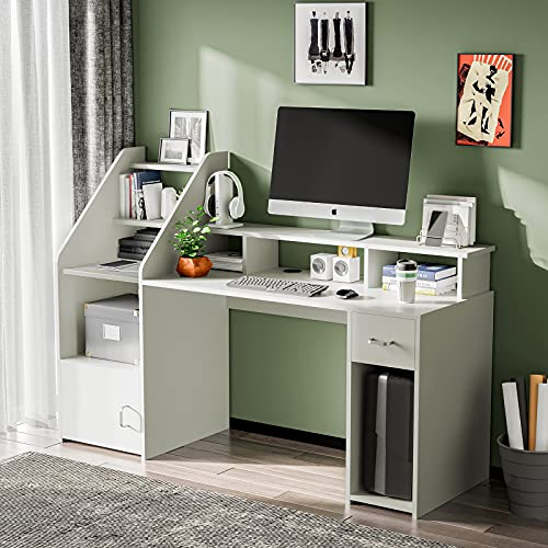 White Computer Desk with Drawers, Shelves, Storage, Hutch, 64.5'' Large Computer Table Desk, Study Writing Desk with Storage Drawers, Monitor Shelf, Tower Shelf for Home & Office