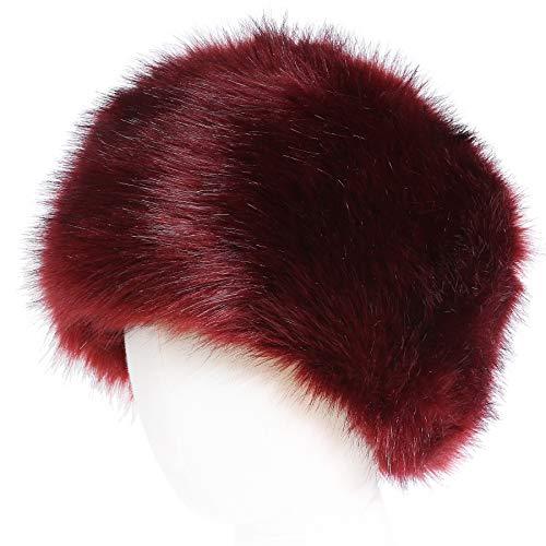 soul young Sombrero de Invierno del Estilo Ruso de la Piel Falsa de Las Mujeres Sombreros de Las Tapas de esquí de la Moda(Rojo)