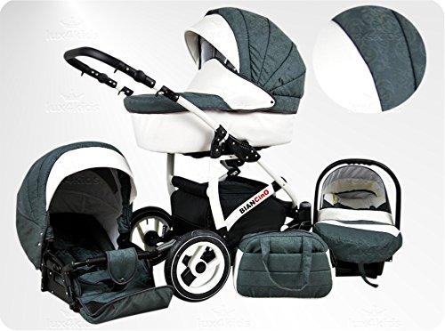 Lux4Kids BIANCinO Kinderwagen Komplettset (Autositz & Adapter, Regenschutz, Moskitonetz, Schwenkräder) 05 Eco Leather White & Grey