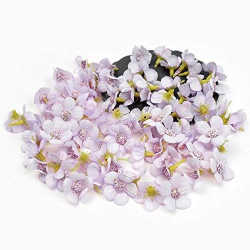50pcs 2cm Daisy Flower Head Mini Silk Artificial Flowers For Home Wedding Decoration DIY Garland Headdress Fake Flowers Decor - Light Purple