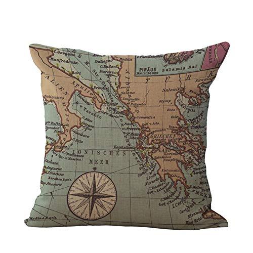 JUNGEN Funda de cojín Mapa Funda de Almohada Cuadrada Vintage Funda de...