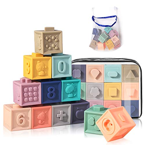 Baby Toy Blocks Soft Stacking Blocks for Babies 6+ Month Baby Building Teething Toys Infant Montessori Toys with Numbers Shapes Textures Animals 12PCS- BPA-Free