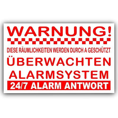 Platina plaats 6 x Warnung Überwachten Alarmsysteem-Externer Aufkleber-Sicherheit Warnung Zeichen