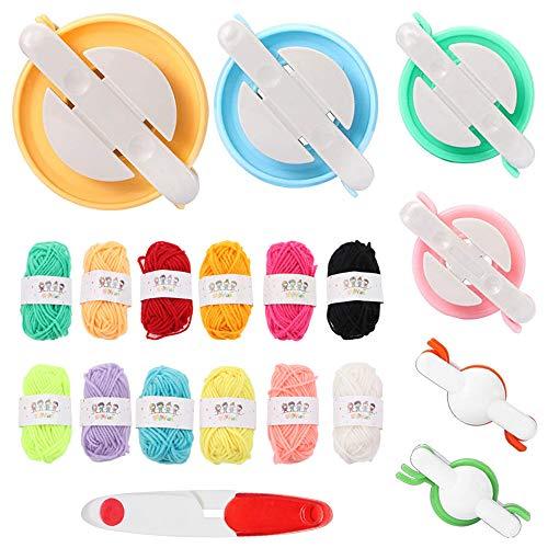 Pompom Maker, 6 piezas de pompones para hacer bolas de pelusa para hacer manualidades con agujas de tejer kit de lana con 12 piezas de lana hecha a mano Pom Pom Set de herramientas