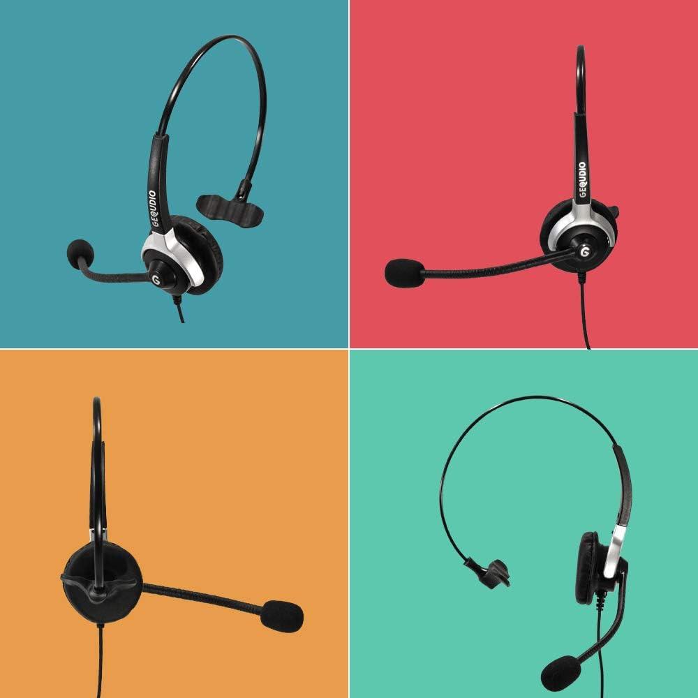 Panasonic/® Grandstream/® Cisco SPA/® Polycom/® tel/éfonos 60 g de Peso GEQUDIO Auricular con micr/ófono con 2.5mm Jack para Gigaset DECT/®