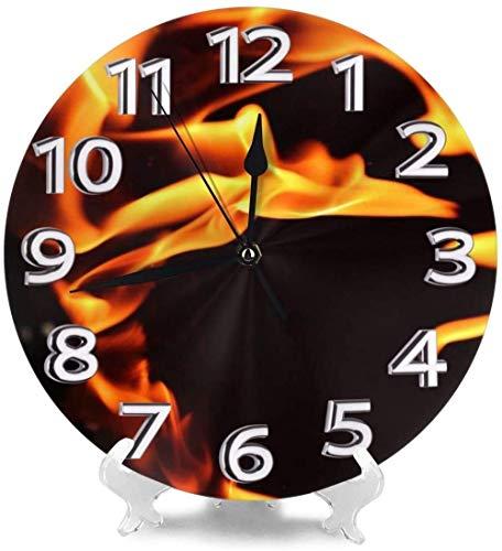 AZHOULIULIU Co.,ltd Decoración de Relojes de Escritorio de Llama de Fuego para Gimnasio Den Simplicidad precisa