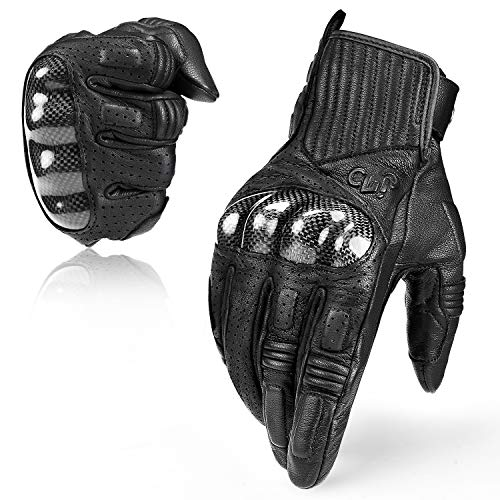 INBIKE Leather Motorcycle Riding Gloves Touchscreen with Carbon Fiber Hard Knuckle for Men Black Large