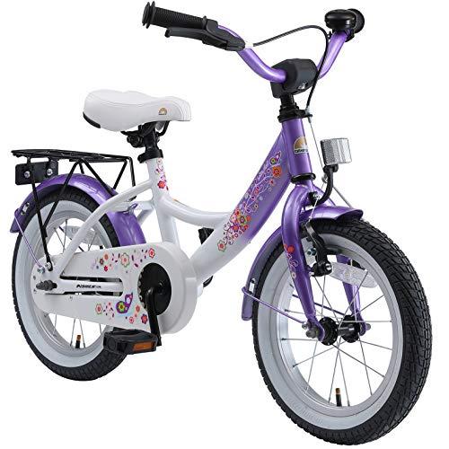 BIKESTAR Kinderfahrrad für Mädchen ab 4 Jahre | 14 Zoll Kinderrad Classic | Fahrrad für Kinder Lila & Weiß | Risikofrei Testen
