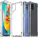 Ferilinso Funda para Samsung Galaxy M32, con 2 Piezas Cristal Templado Protector de Pantalla, Transparente TPU Carcasa, 10X Anti-Amarilleo, Anti-Choque, Anti-arañazos