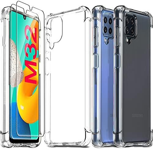 Ferilinso Funda para Samsung Galaxy M32, con 2 Piezas Cristal Templado Protector...