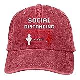 Soziale Distanzierung Halten Sie die Distanz 6 Fuß einstellbar gewaschen Unisex Papa Hut Cowboy Cap Denim Cap Gorra de béisbol, rosso, Talla única