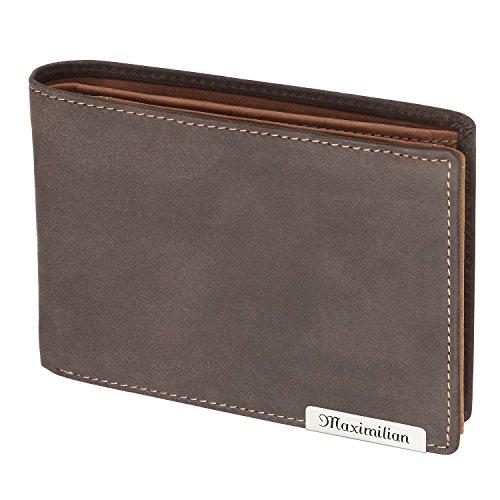 Cadenis Leder Portemonnaie Geldbeutel mit Laser-Gravur aus Rindsleder braun Querformat 11 x 9 cm