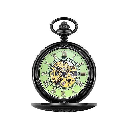 Retro Reloj de bolsillo del bolsillo Zhicaikiyi con cadena Clásico Reloj de bolsillo mecánico Reloj Romano tallado Hueco Reloj de bolsillo Reloj de bolsillo Regalo de cumpleaños (Color: Azul, Tamaño: