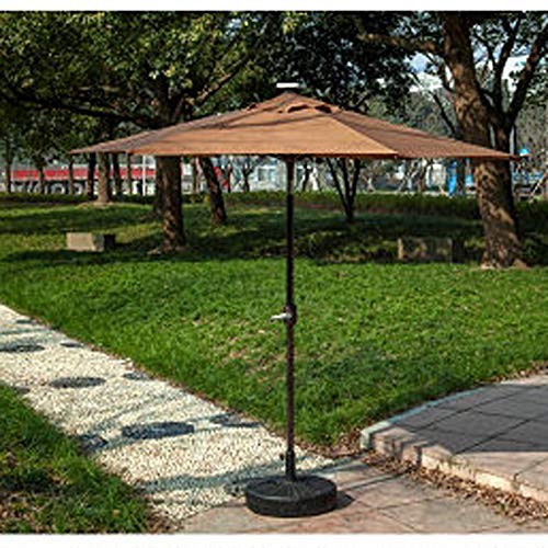 2.5M Al Aire Libre autocargable 30 LED Parasol Patio Solar Sun Shade Garden Paraguas Colgante en voladizo - Tubo de Aluminio (Color: Rojo)