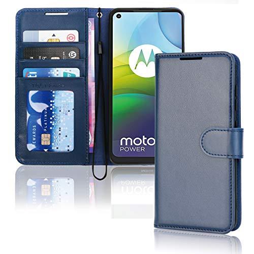TECHGEAR Moto G9 Power - Funda tipo cartera de piel sintética con tapa y tarjetero para Motorola Moto G9 Power, color azul