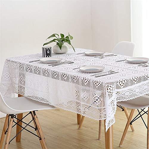 DAKEUR Weiße Spitze gehäkelte Tischdecke Baumwolle rechteckige Tischdecke Home Hotel Textildekoration weiß 85x85cm