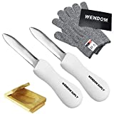 WENDOM Oyster Shucking Knife and Gloves Set Included 2pcs Oyster Shucker Opener New Haven Style, Cut...