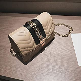 Casual Fashion Lock Style Single Shoulder Chain Crossbody Square Bag Evelope Bag (Khaki) Girls Handbag