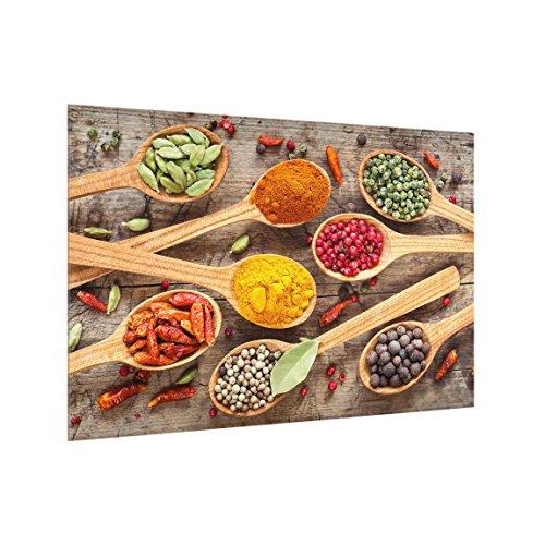 Bilderwelten Panel antisalpicaduras de Cristal - Spices On Wooden Spoon - Horizontal 2:3, Panel antisalpicaduras Panel de Vidrio para Cocina Protector contra Salpicaduras, Tamaño: 40cm x 60cm