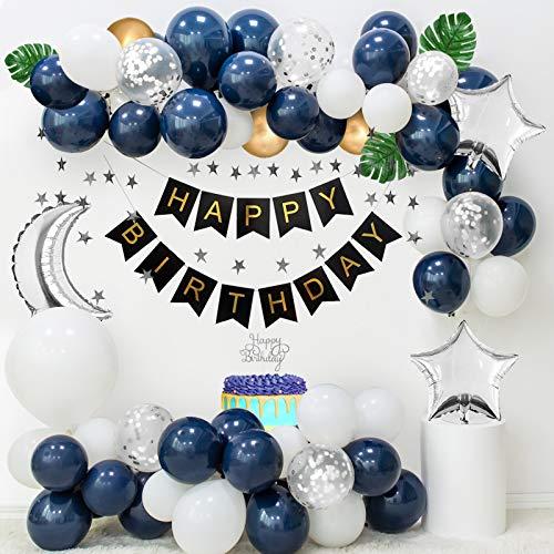 Decoraciones cumpleaños, globos blancos azul marino, globos confeti plateados, globos dorados metálicos, pancarta FELIZ CUMPLEAÑOS, pancarta plateada con estrellas, hojas de palma, adorno de pastel