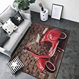 Floor mats for Kids Vintage,Retro Motorcycle Nostalgic Scooter in Front of Wall Vehicle Traffic Urban Picture,Red Umber 80'x 120' Truck mats