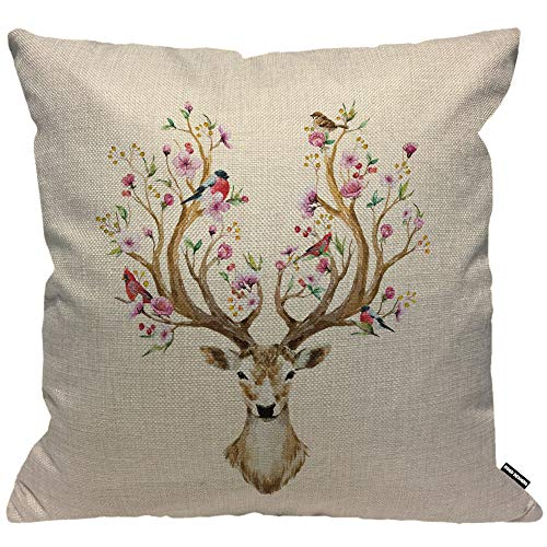 HGOD DESIGNS Cushion Cover Flower Deer Watercolor Deer Big Antlers Flowers and Birds On The Horns Throw Pillow Cover Decorative for Men/Women/Boys/Girls Living Room Bedroom Sofa Chair 18X18 Inch