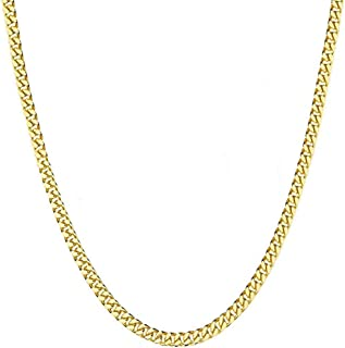 FZTN Jewelry Mens Womens Cuban Link Chain 18K Gold Plated 3-6mm Stainless Steel Curb Necklace,Fashion Jewelry,Wear Alone or with Pendant,18-26 Inch