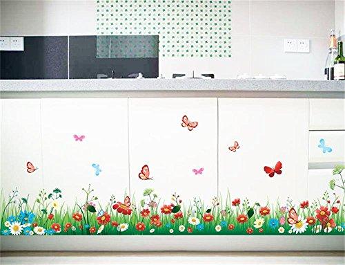 ufengke Wandtattoo Grün Gras Wiese Wandaufkleber Wandstickers DIY Bunte Blumen & Schmetterlinge Wandbild für Kinderzimmer Wohnzimmer Schlafzimmer Baseboard Flur Garderobe