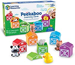 Learning Resources Peekaboo Learning Farm, Counting, Matching & Sorting Toy, Toddler Finger Puppet Toy, 10 Piece Set, Easter Gift for Kids, Easter Toys, Ages 18 mos+