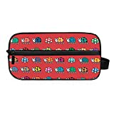 DEZIRO - Neceser portátil de viaje con diseño de mariquita, impermeable, organizador de maquillaje, bolsa de cosméticos para mujeres y niñas