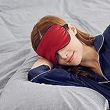 SLHP Máscara para dormir, antifaz para ojos, tela de seda natural y relleno de algodón natural con correa ajustable para hombres, mujeres y niños (vino tinto)