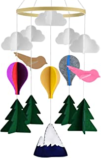 KATUMO Baby Crib Mobile, Handmade Baby Mobile Infant Toy Hanging Rotating Hot Air Balloons Birds and Clouds Nursery Bed De...