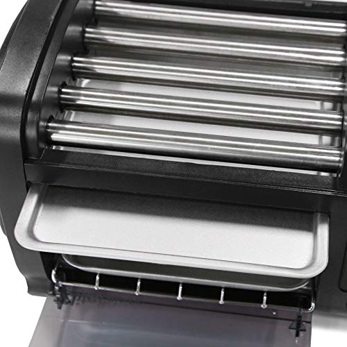 Product Image 8: Elite Gourmet EHD-051B Hot Dog Toaster Oven, 30-Min Timer, Stainless Steel Heat Rollers Bake & Crumb Tray, World Series Baseball, 4 Bun Capacity, Black