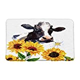 Print Microfiber Memory Foam,Funny Milk Cow with Yellow Sunflower Watercolor Farm Animal Rustic Farmhouse Soft Home Office Door Bathroom Mat/Bath Rugs - Non Slip,19.7'X31.5'