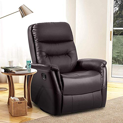 USDFJN 360° Swivel Recliner Armchair, Leather Padded Ergonomic Comfort Manual Reclining Chair Rocking Chair Lounge Chair NO-8