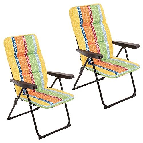 Pack de 2 Pack de 2 sillones de Playa Acolchados de 4 Posiciones Multicolor de Acero y Lona de 62x59x108 cm - LOLAhome