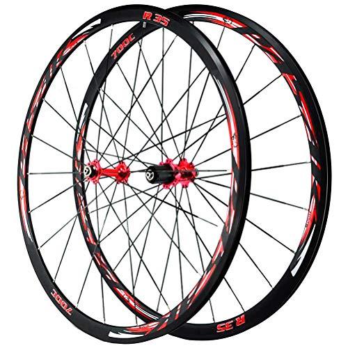 700C Rennrad-Radsatz Doppelwandige Leichtmetallfelge V/C-Bremse Schnellspanner Palin Scheibenlager 7 8 9 10 11 12 Geschwindigkeit (Color : Red)