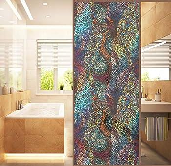 XXRBB Privacy Window Film Stain Glass Geometric Patterns No-Glue Static Cling PVC Decorative Window Sticker Anti-UV for Home Bathroom Living Room Kitchen Glass 120X58cm 47.2X22.8Inch ,2