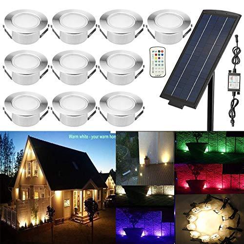 10er RGBWW Solarleuchte große Größe Ø61mm Einbaustrahler LED DC12V Boden Licht IP65 Wasserdicht Solarlampen Einbauleuchten Außen Terrasse Garten Led Lampe