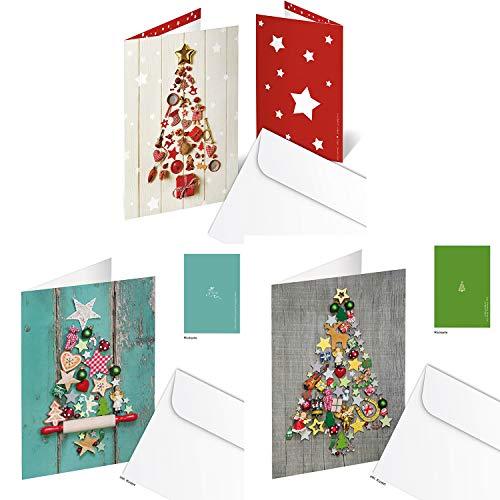 Logbuch-Verlag SET 9 Weihnachtskarten Klappkarten MIT KUVERT Weihnachten Karten Firmen OHNE TEXT Motiv Weihnachtsbaum Fotomotiv 3 x 3 Stück rot grün bunt BAUM