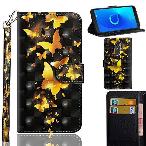 Ooboom Alcatel 3C Hülle 3D Flip PU Leder Schutzhülle Handy Tasche Case Cover Ständer mit Trageschlaufe Magnetverschluss für Alcatel 3C - Gold Schmetterling
