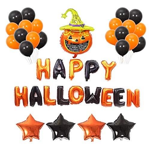 TINGYU Conjunto De Halloween Decoración De Globos De Látex Globo del Partido Traje Negro Cabeza De Color Naranja Feliz Halloween Cartas De Papel De Aluminio