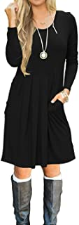 AUSELILY Women's Short Sleeve Pleated Loose Swing Casual Dress with Pockets Knee Length