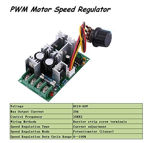 Motordrehzahlregler,Jectse DC10-60V 20A PWM Geschwindigkeitsregler Motor Drehzahlsteller Regler Kontroller DC-Motordrehzahlregler mit Schalterfunktion