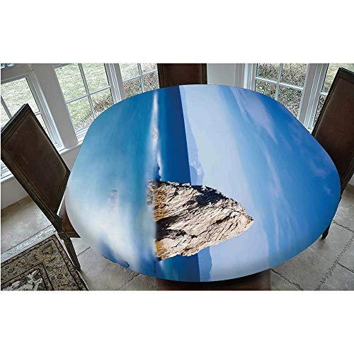 Mantel ajustable de poliéster con bordes elásticos, diseño de roca italiana y cielo secreto europeo, para mesas ovaladas/Olbong de 24 x 48 pulgadas, para decoración de mesa de cocina o comedor